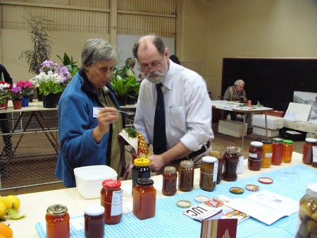 Bob and Margaret Rankin, judging jams at the Quorn Show