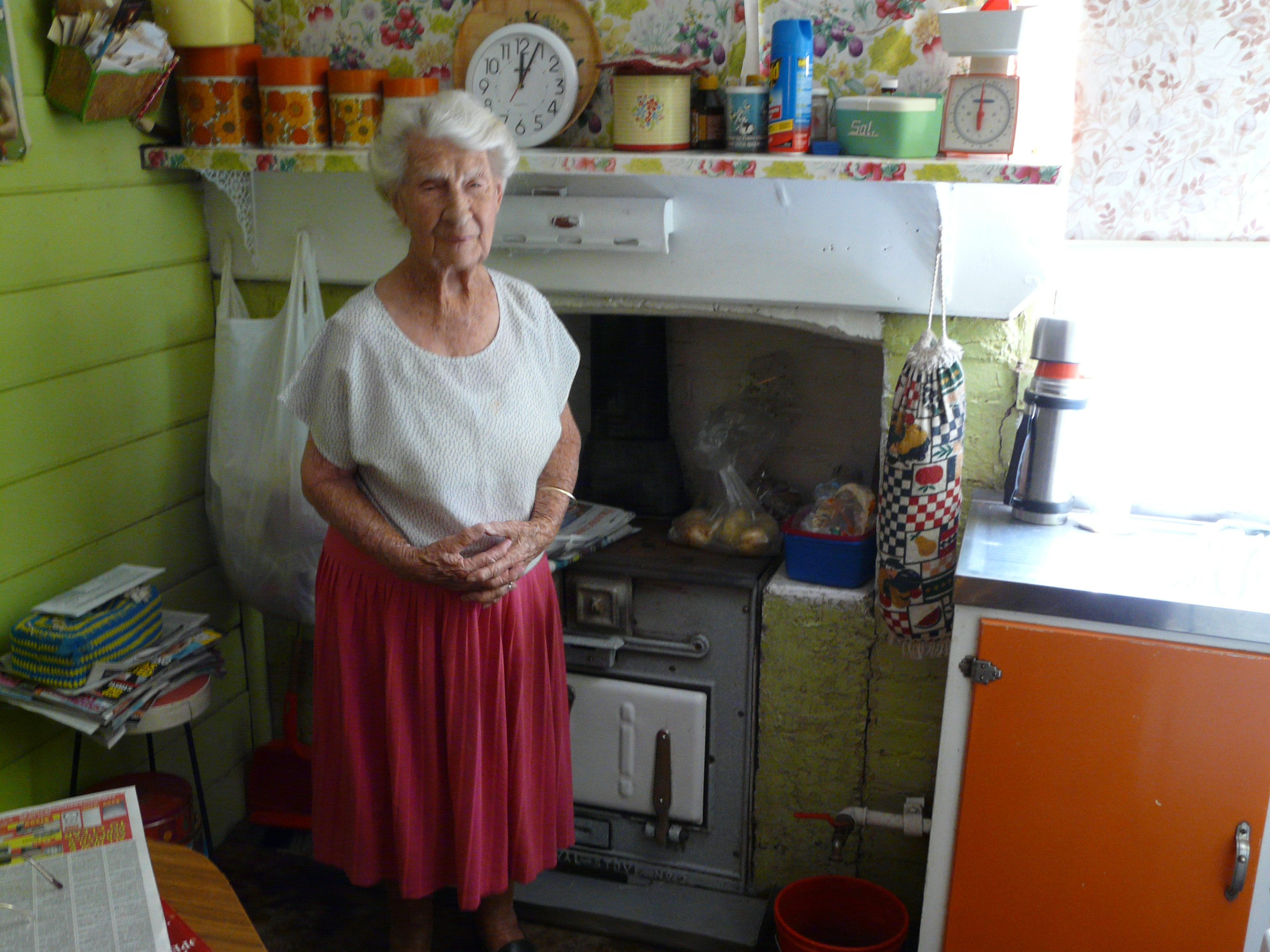 Wood Stove In Kitchen